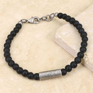 Personalised Men's Matt Glass And Metal Bead Bracelet