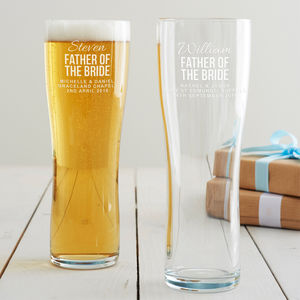 Personalised Father Of The Bride Pint Glass - weddings sale
