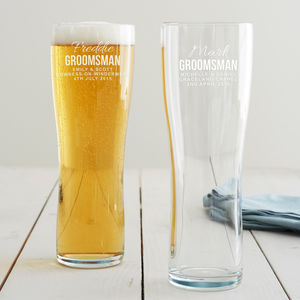Personalised Groomsman Pint Glass - best man & usher gifts
