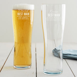 Personalised Best Man Pint Glass - beer & cider glasses