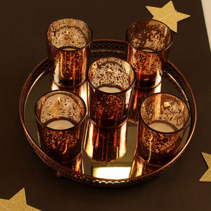 Moroccan Five Votive Holders And Mirrored Stand