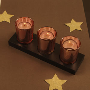 Set Of Three Copper Tea Light Holder With Stand