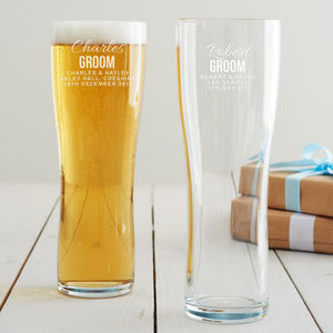 Personalised Groom Pint Glass - last-minute gifts