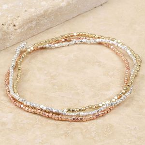 Mixed Metal Dainty Cube Bead Bracelet Set - mixed metals