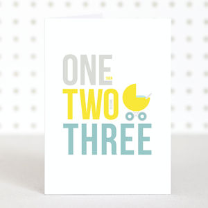 'One Two Three' New Baby Card