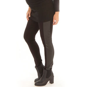 Maternity Faux Leather Panel Leggings - women's fashion