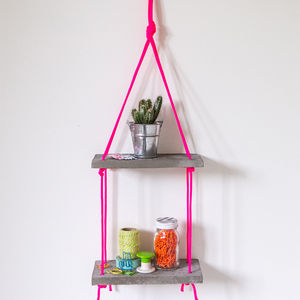 Concrete And Neon Two Tier Shelves