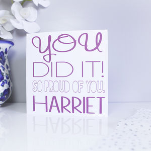 Personalised 'You Did It' Card For Her - graduation cards