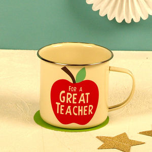 'For A Great Teacher' Apple Steel Mug Gift - mugs