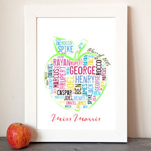 Personalised 'Teacher Apple' Class Names Print - art & pictures