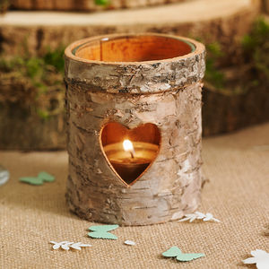 Three Wooden Bark Tea Light Holders - rustic wedding
