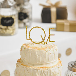 Art Deco Style 'Love' Wedding Cake Topper - cake decorations & toppers