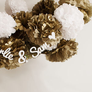 Metallic Gold And Silver Pom Poms - statement wedding decor