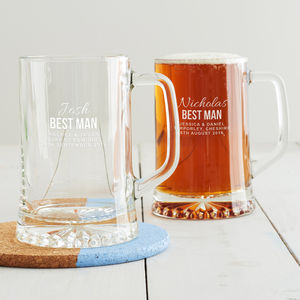 Personalised Best Man Tankard - beer & cider glasses