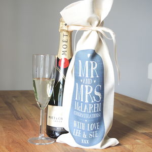 Personalised Mr And Mrs Bottle Bag