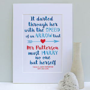 Personalised 'Mr Knightly' Wedding Print