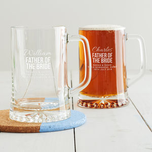 Personalised Father Of The Bride Tankard - beer & cider glasses