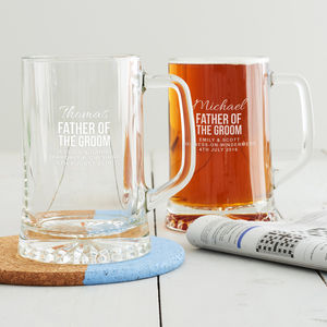 Personalised Father Of The Groom Tankard - wedding thank you gifts