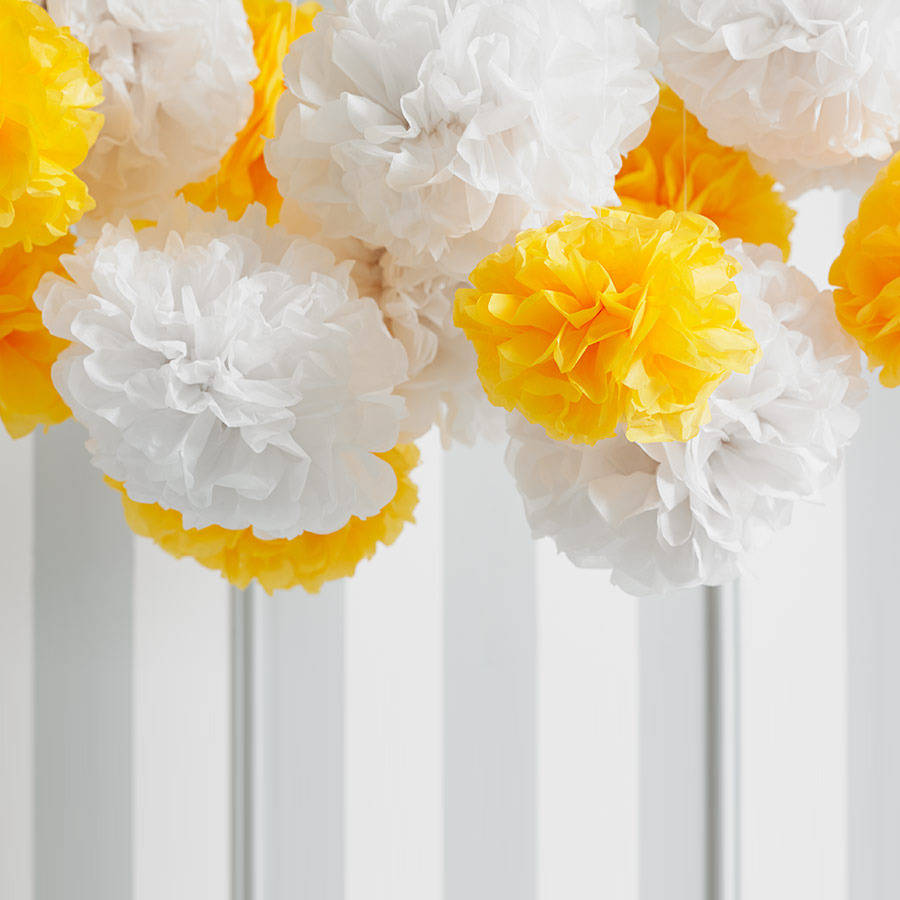 pack of five yellow tissue paper pom poms by ginger ray ...