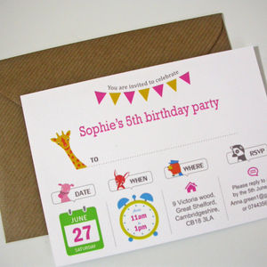 Girl's Animal Party Invitation - personalised