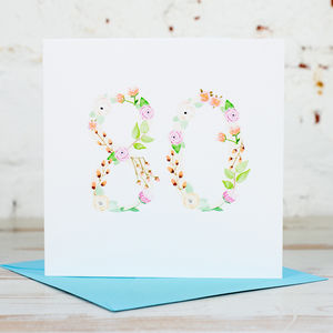 80th Birthday Card - special age birthday cards