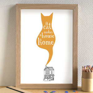'A Cat Makes A House A Home' Print - gifts for cat lovers