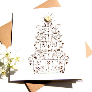 Wedding Card Cake Laser Cut Button Card - wedding, engagement & anniversary cards