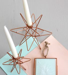 Large Copper Star Shaped Candle Holder - christmas lighting