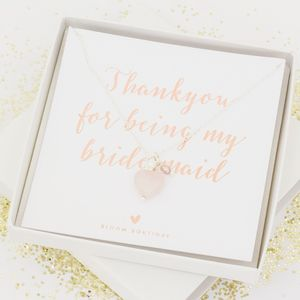 Maya Bridesmaid Gift Card Personalised Silver Necklace - bridesmaid gifts