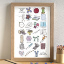 Sewing Alphabet Art Print Unframed