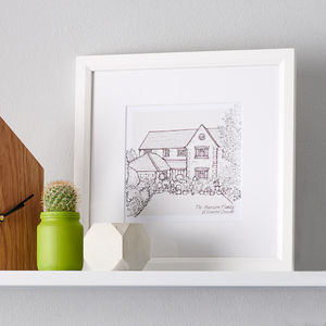 Hand Drawn Bespoke House Sketch - posters & prints