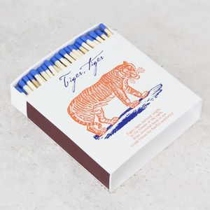 Large Tiger Print Luxury Matchbox - fireplace accessories