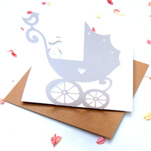 New Baby Card Pram Pop Up Card - cards sent direct