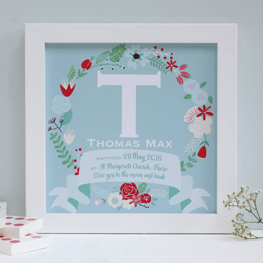 Personalised Christening Framed Name Print