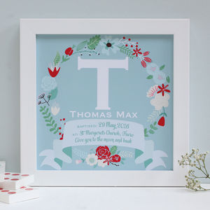 Personalised Christening Framed Name Print - children's room