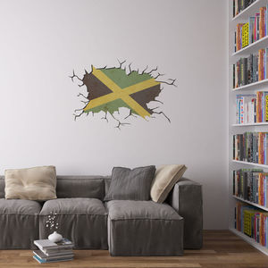 Cracked Wall Flag Of Jamaica Vinyl Wall Art - wall stickers