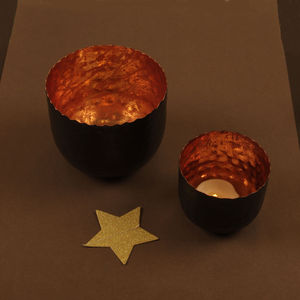 Hand Crafted Copper Tea Light Holder Collection - on trend: copper