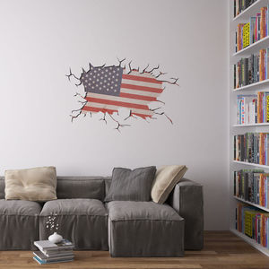 Cracked Wall Flag Of USA Vinyl Wall Art