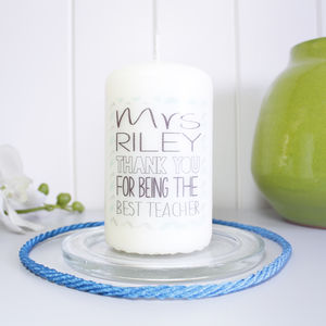 Personalised Chevron 'Best Teacher' Candle