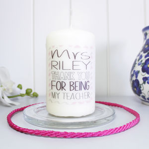 Personalised Chevron 'Thank You' Candle For Teachers