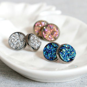 Sparkling Druzy Stud Earrings - earrings