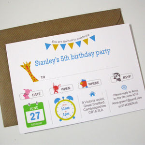 Boy's Animal Party Invitation - personalised