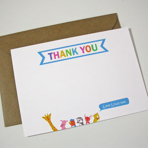 Personalised Animal Thank You Cards - thank you cards