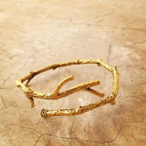 Boho Branch Bangle In Brass - bracelets & bangles