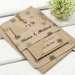 Snowflake Kraft Wedding Invitation Bundle - invitations
