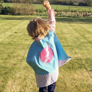Reversible Gingham Super Hero Cape - pretend play & dressing up