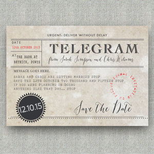 Telegram Save The Date Postcard - wedding stationery