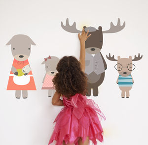 Moose Family Fabric Wall Stickers - children's room