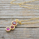 Gold Garnet And Ruby Graduating Necklace