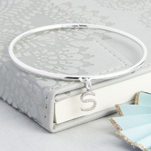 Personalised Silver And Pave Initial Charm Bangle - bracelets & bangles